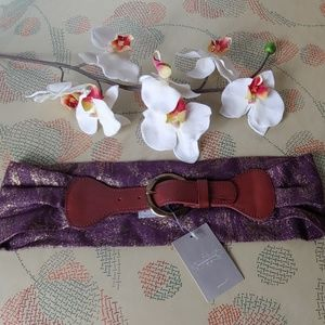 NWT Anthropologie leather & textile belt